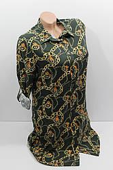 Женская рубашка-туника с длинным рукавом штапель оптом в Хмельницком