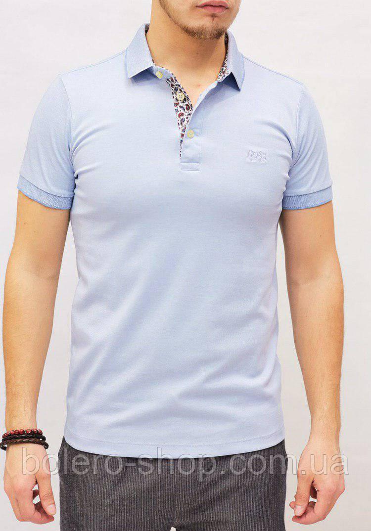 Футболка мужская поло Hugo Boss голубая с цветной вставкой