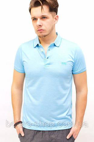 Футболка мужская поло Hugo Boss голубая, фото 2
