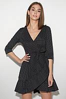 Черное платье в горошек с запахом и оборкой, фото 1