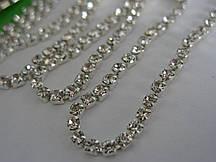 Стразовая цепь ss12 Crystal silver, 1м.