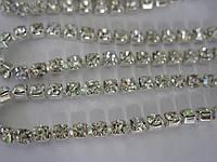 Цепочка со стразами ss16 Crystal silver, 1м., фото 1