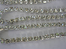 Стразовая цепь ss16 Crystal silver, 1м.