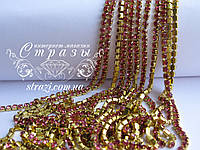 Цепочка со стразами ss12 Rose Gold, 1м., фото 1