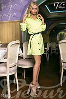 Женское легкое платье рубашка с воротником стойка рукав три четверти крепдешин, фото 1