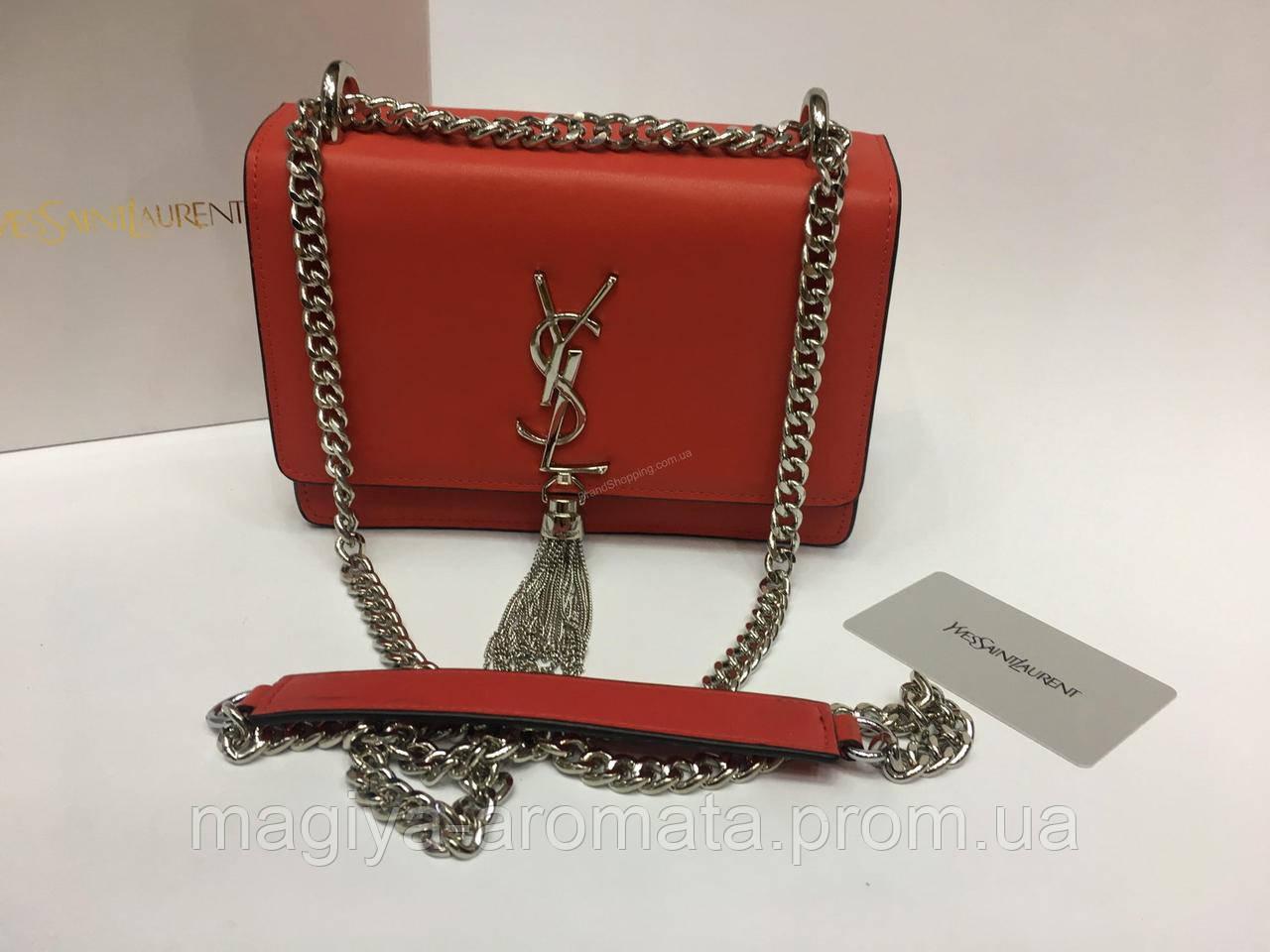 938fdd223b35 Кожаная брендовая женская сумка YSL lux копия красная Ив Сен Лоран. SAINT  LAURENT