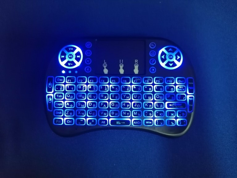 Беспроводная мини клавиатура RT-MWK08 wireless i8 с тачпадом LED (Blue)