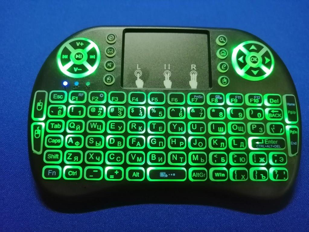 Беспроводная мини клавиатура RT-MWK08 wireless i8 с тачпадом LED (Green)