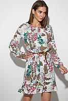 Летнее белое платье с цветочным принтом и оборкой, фото 1