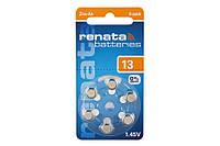 Батарейки для слуховых аппаратов RENATA ZA13 (PR48) PR13D6A  в уп 6 шт Воздушно-цинковый