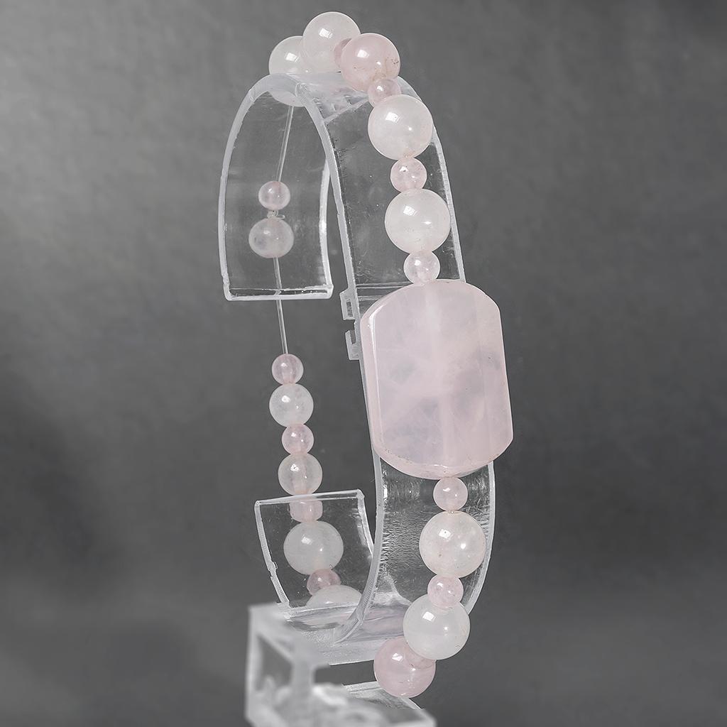 Розовый кварц, браслет, 166БР