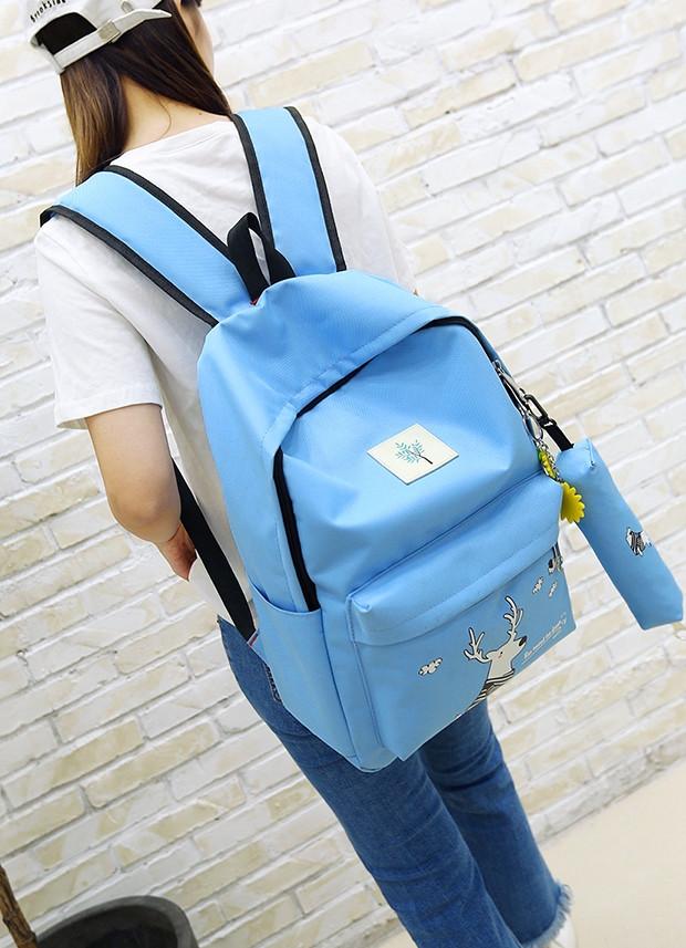 e47f875ffa8 Школьный Рюкзак набор Голубой с Оленем 4в1