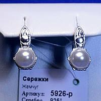 Серьги из родированного серебра с жемчужиной 5926-р