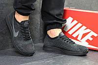 Мужские кроссовки в стиле Nike Flyknit Racer, темно-серые 41 (26 см)