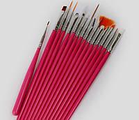 Кисти для маникюра, используются для живописной росписи ногтей, 15шт.