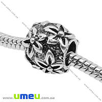 Бусина PANDORA мет. Цветы, 11х10 мм, Античное серебро, 1 шт. (BUS-006535)