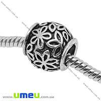 Бусина PANDORA мет. Цветы, 11х10,5 мм, Античное серебро, 1 шт. (BUS-004574)