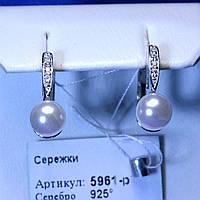Серебряные серьги родированные с жемчужиной 5961-р