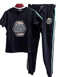 Спорт костюм женский лампас gucci стразы универсал 46-48 (лето)