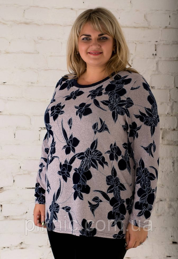Красивая теплая туника Микс ангора 58-60, 62-64, 66-68 батал. Женская одежда больших размеров. Пудра