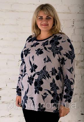 Красивая теплая туника Микс ангора 58-60, 62-64, 66-68 батал. Женская одежда больших размеров. Пудра, фото 2