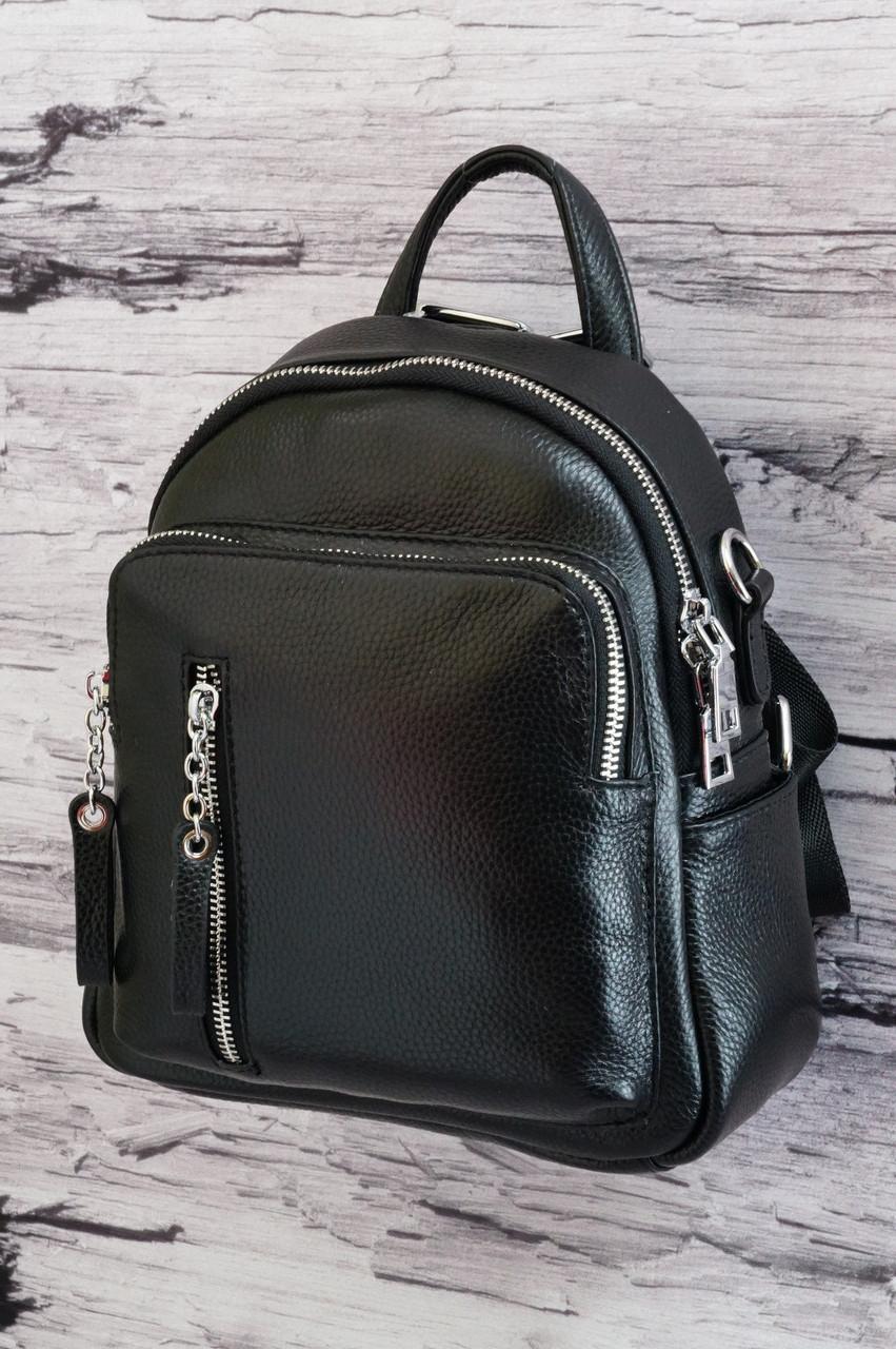 Компактный рюкзачок из натуральной кожи Vito Torelli 6-707 black