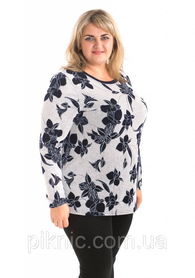 Красивая теплая туника Микс ангора 58-60, 62-64, 66-68 батал. Женская одежда больших размеров. Серый