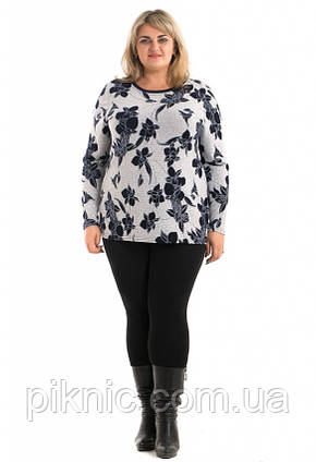 Красивая теплая туника Микс ангора 58-60, 62-64, 66-68 батал. Женская одежда больших размеров. Серый, фото 2