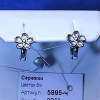 Серебряные серьги Цветы, черненые 5995-ч