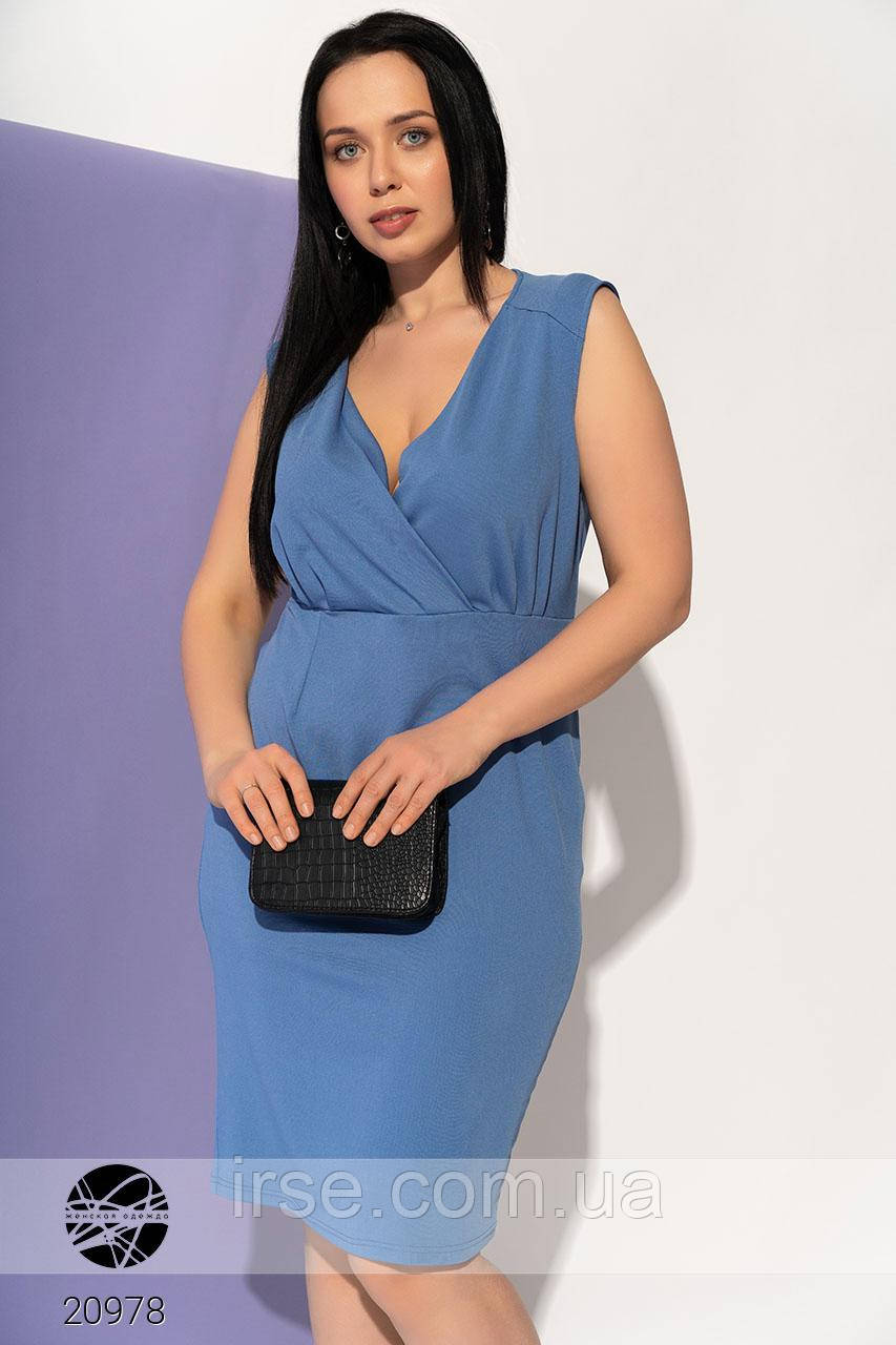Летнее платье голубого цвета без рукава. Модель 20978. Размеры 50-56