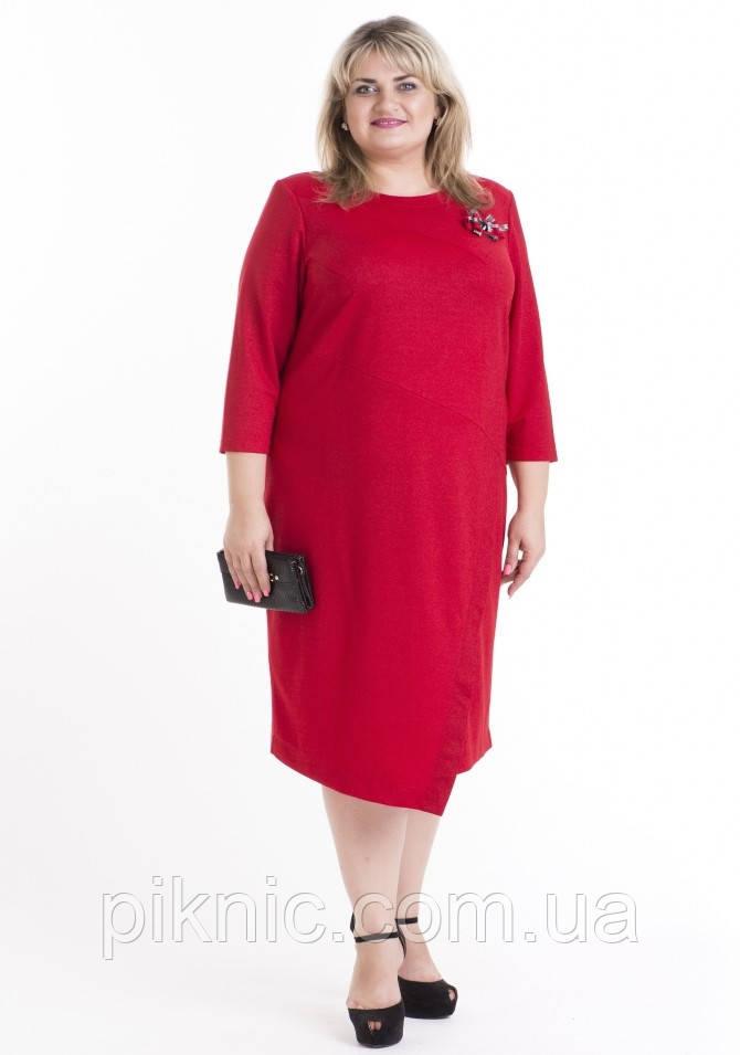 Стильное платье Ингрид 60, 62, 66 батальное. Женское платье больших размеров. Красный