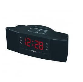 """Часы сетевые 907-1 """"красные"""" + радио FM"""