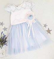 """Красивое и нежное детское бальное платье на девочку """"Гипюр"""" голубое  р. 2,4 года, фото 1"""