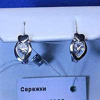 Серебряные серьги Сердце с родием 5962-р