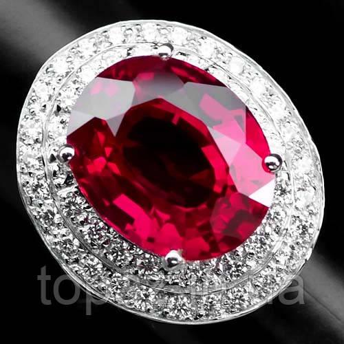 Кольцо серебряное 925 натуральный красный топаз, белый сапфир.
