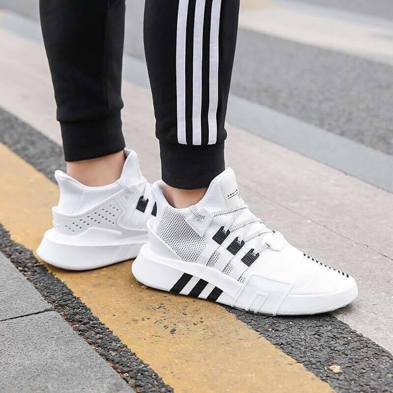 Мужские кроссовки Adidas EQT White|Black (Реплика ААА+)