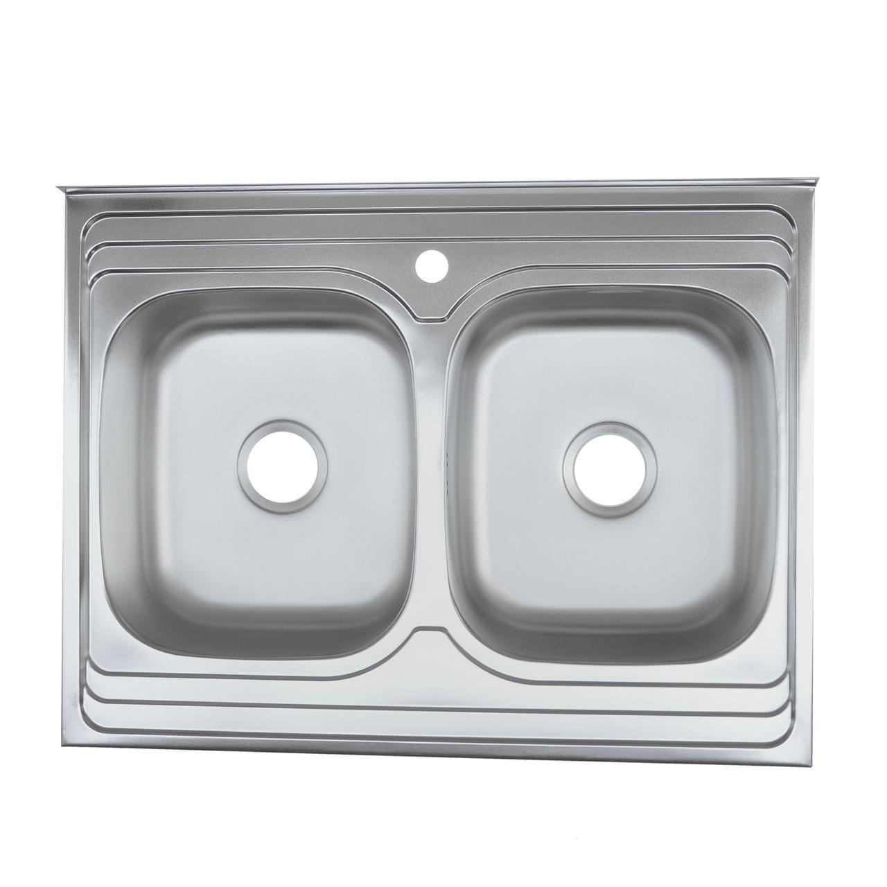 Кухонная мойка Platinum 8060D Polish 0,7мм двойная накладная