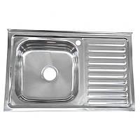 Кухонная мойка Platinum 8050 R Satin 0,7мм накладная с сушкой