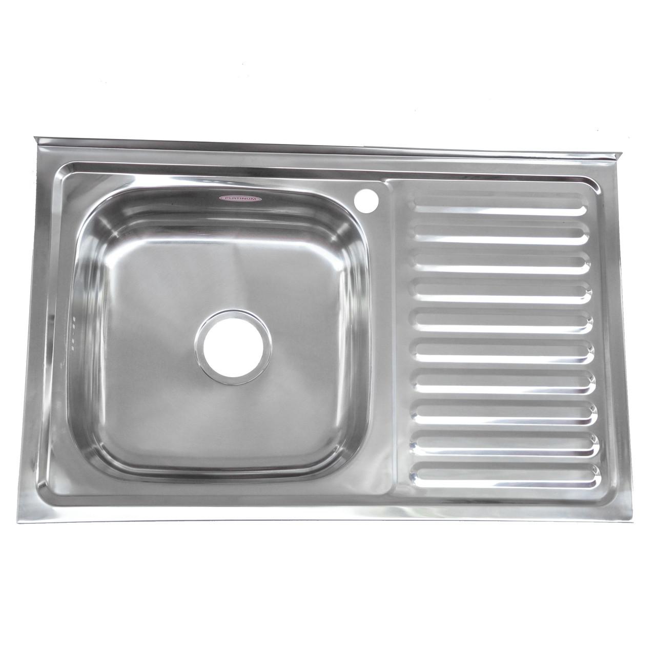 Кухонная мойка стальная Platinum 8050 L Decor 0,7мм накладная