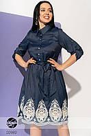 Джинсовое платье с кружевом. Модель 20980. Размеры 42-56