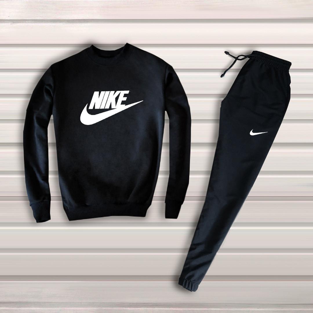 f0c41478 Мужской спортивный костюм, чоловічий костюм Nike Найк (черный+белый лого),  Реплика