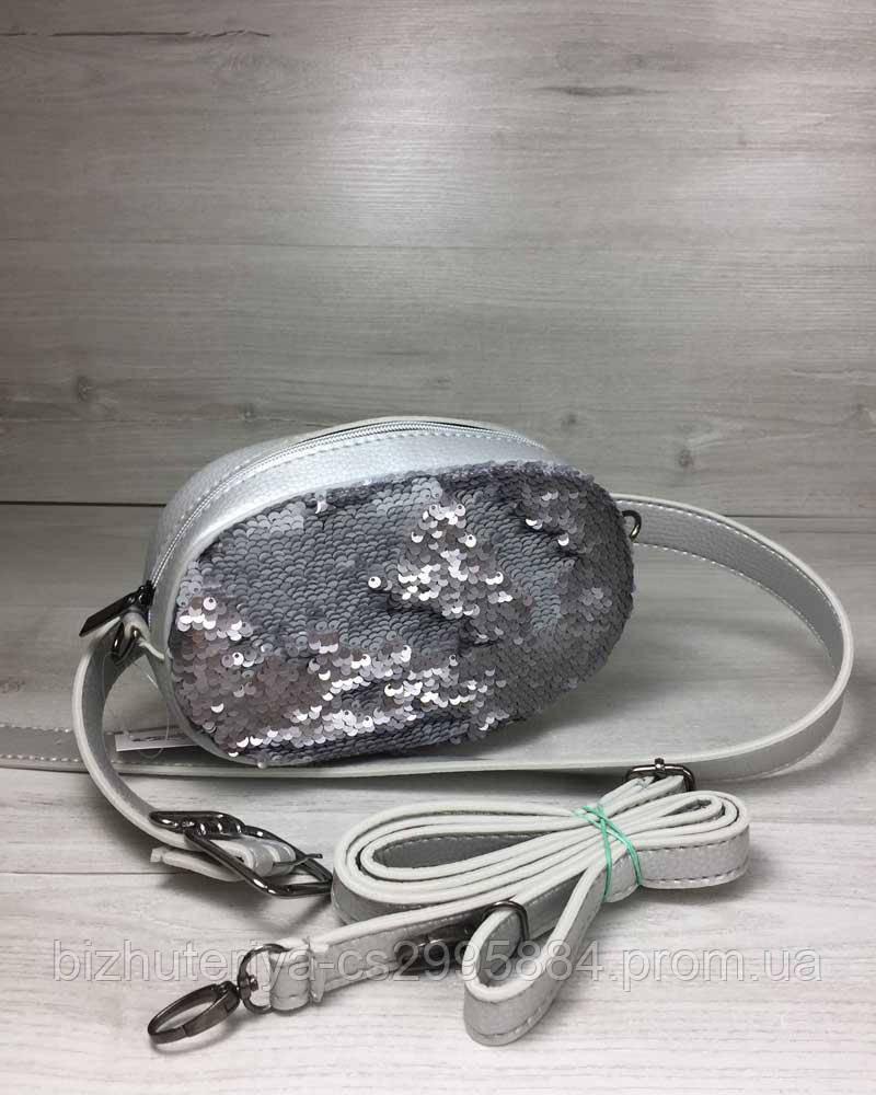 b8fd1364e336 Женская сумка на пояс- клатч WeLassie серебряного цвета Пайетки  серебро-серебро - LBL Лучше