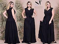 Летнее платье макси с поясом, с 46-56 размер, фото 1