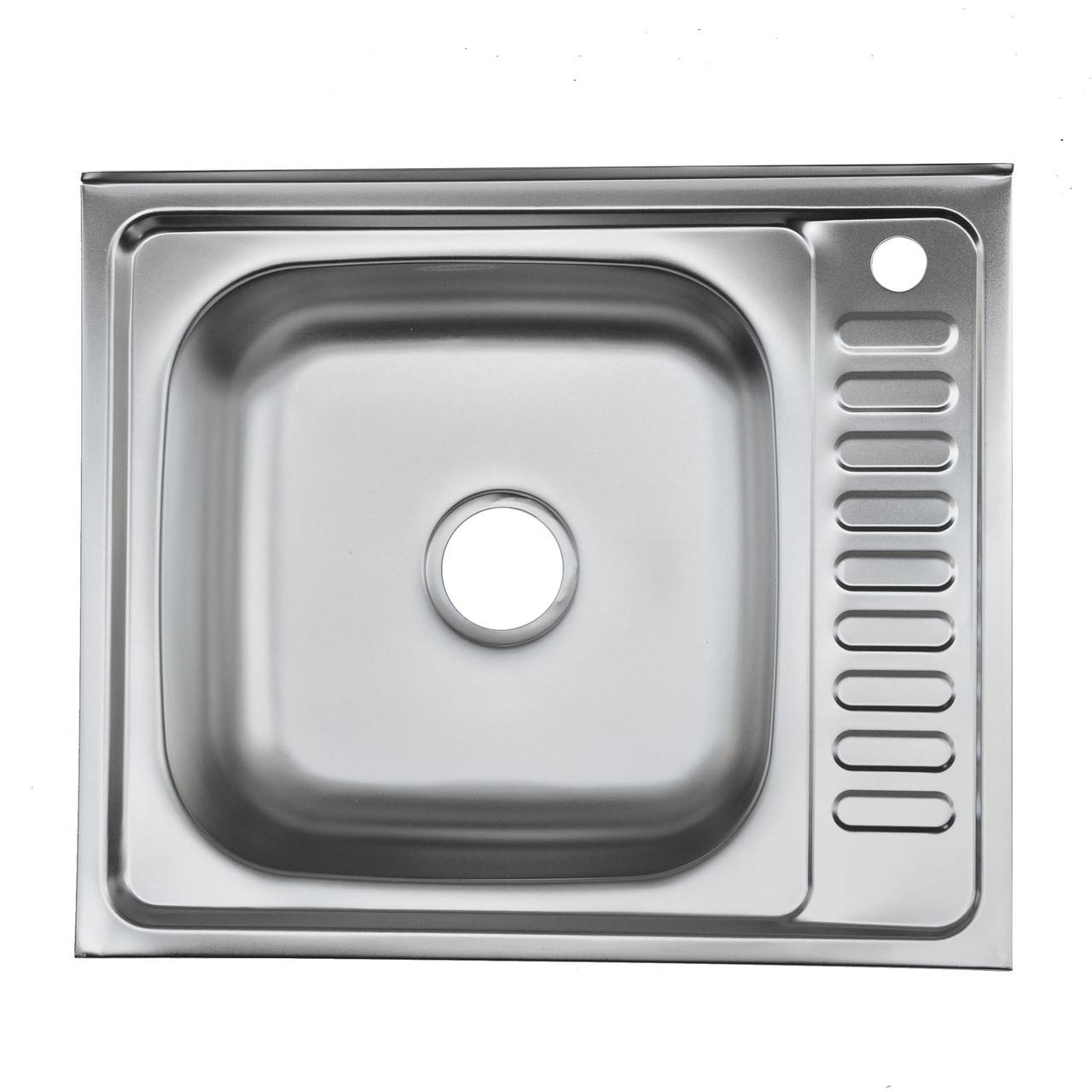 Накладная мойка Platinum 6050 R Decor 0,7 мм правосторонняя. Декорированная.