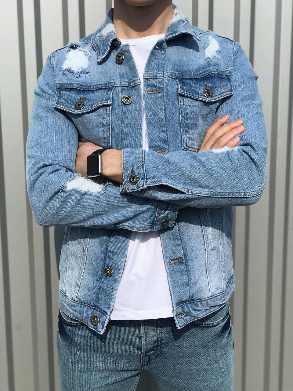 Мужской джинсовый пиджак светло-синий 2Y Premium S размера