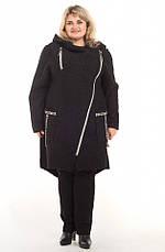 Стильное пальто Косуха с капюшоном 64-66, 68-70 весна батал. Женская верхняя одежда больших размеров. Черный, фото 3