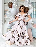 Легкое платье длинное на запах, с 48-54 размер, фото 1