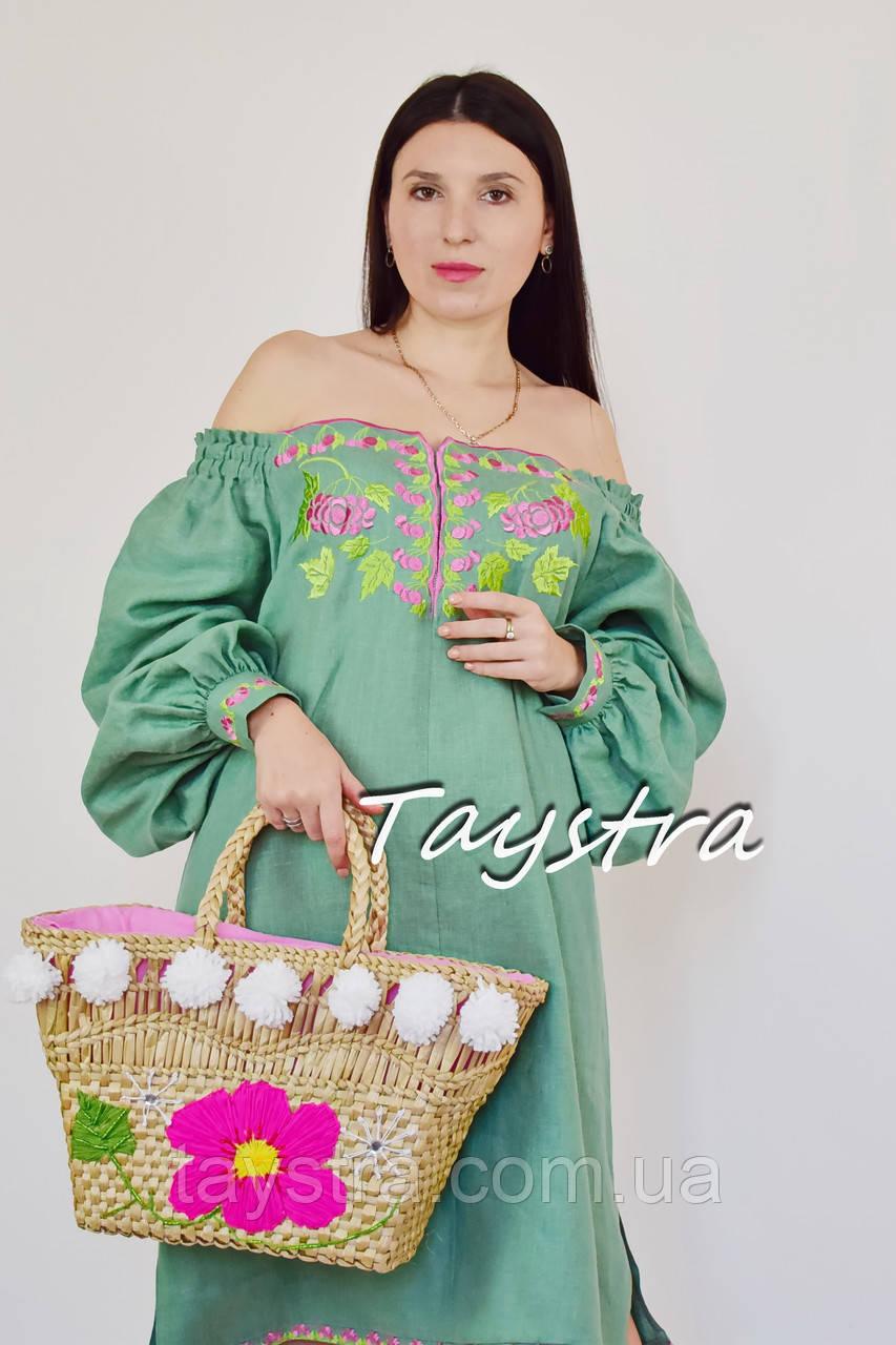 Короткое платье туника  вышитая лен, вышиванка,стиль бохо шик туника летняя открытые плечи