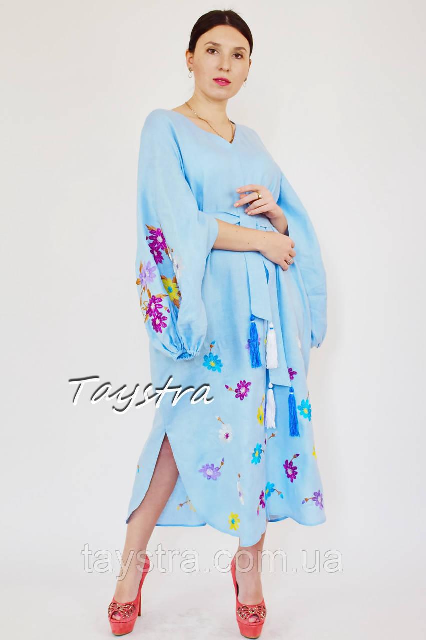 Выпускное платье вышиванка лен,голубое платье стильное вечернее платье с вышивкой