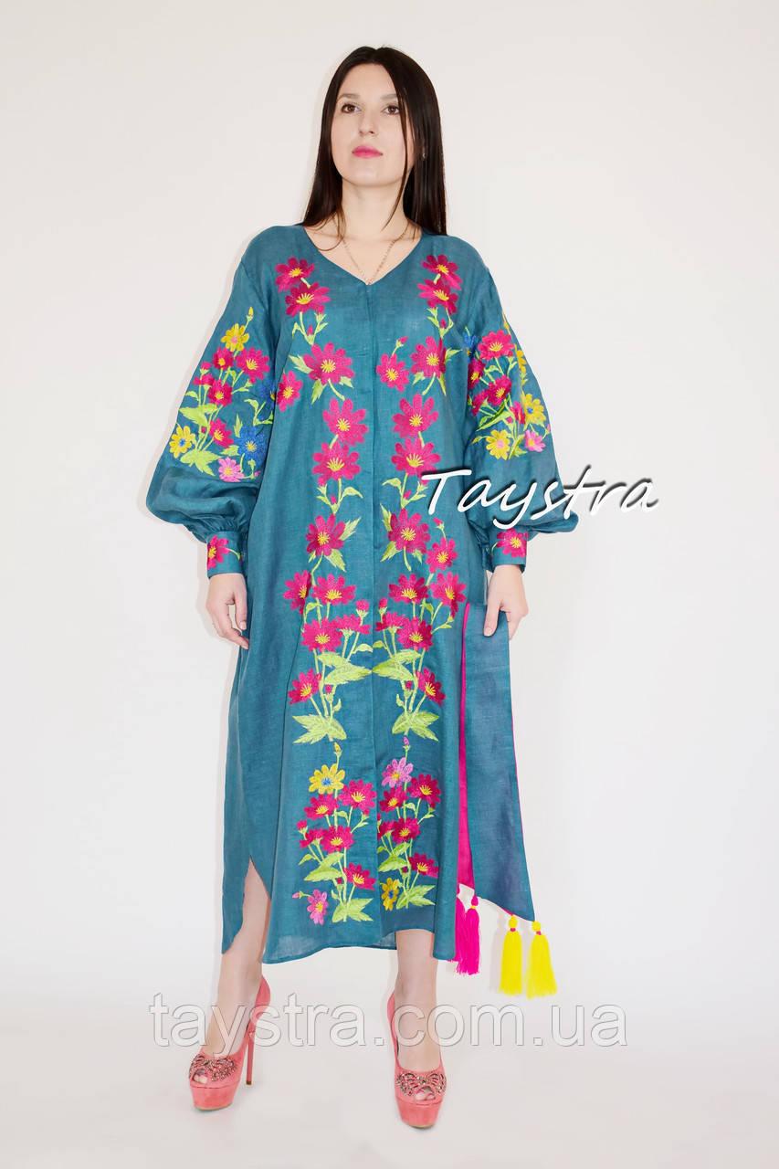Выпускное платье вышиванка лен, вышитое платье стильное вечернее платье с вышивкой, вишита сукня